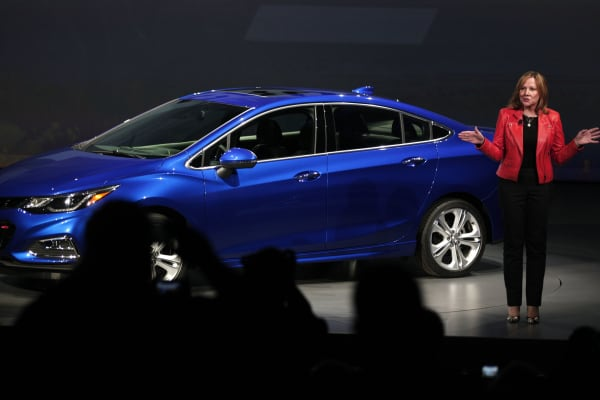 General Motors CEO Mary Barra reveals the new GM 2016 Chevrolet Cruze at The Filmore Detroit June 24, 2015 in Detroit, Michigan.
