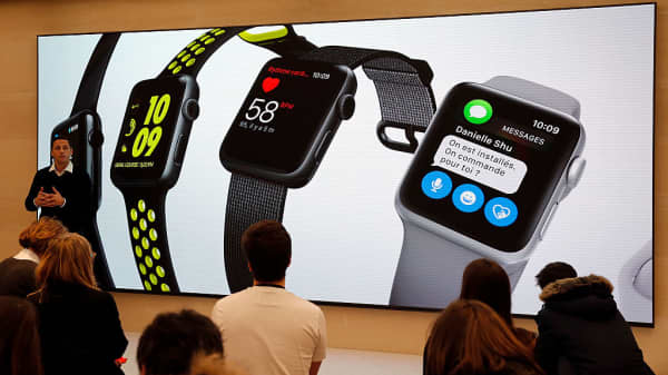 A signage for Apple Watch is displayed inside the new Apple store Saint Germain during the press day on December 01, 2016 in Paris, France.