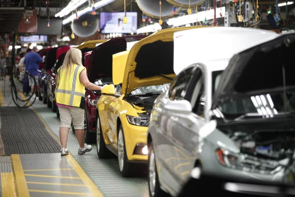 Ford Mustangs go through assembly at the Ford Flat Rock Assembly Plant August 20, 2015 in Flat Rock, Michigan.