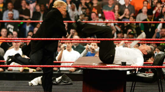 Vince McMahon gets more than he bargained for when Donald Trump got physical after signing the contract for Wrestlemania XXIII's 'Hair vs Hair' match at Monday Night RAW in Washington, D.C. on Monday, March 12, 2007
