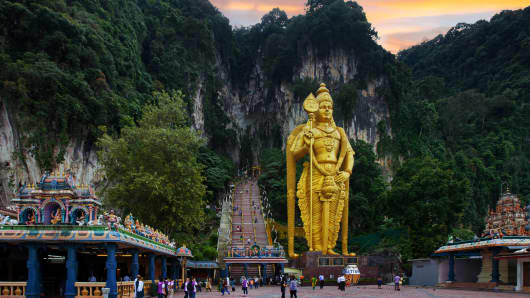 Batu Caves is a limestone hill that has a series of caves and cave temples in Gombak, Selangor, Malaysia.