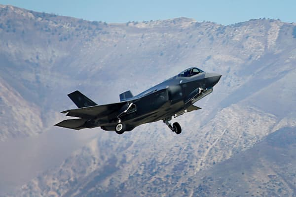A Lockheed Martin Corp. F-35A jet flies during a training mission in Hill Air Force Base, Utah.
