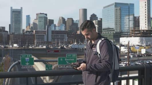 Marc Lefevre at work testing the network for Verizon.