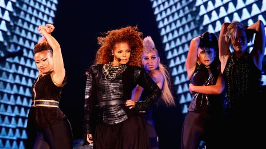 Janet Jackson performs after the Dubai World Cup at the Meydan Racecourse on March 26, 2016.