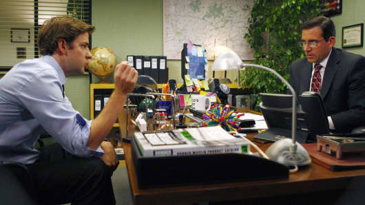 'The Meeting' Episode 602 -- Pictured: (l-r) John Krasinski as Jim Halpert, Steve Carell as Michael Scott.