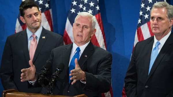 From left, Speaker Paul Ryan, R-Wis., Republican Vice Presidential nominee Mike Pence, and House Majority Leader Kevin McCarthy, R-Calif., conduct a news conference.