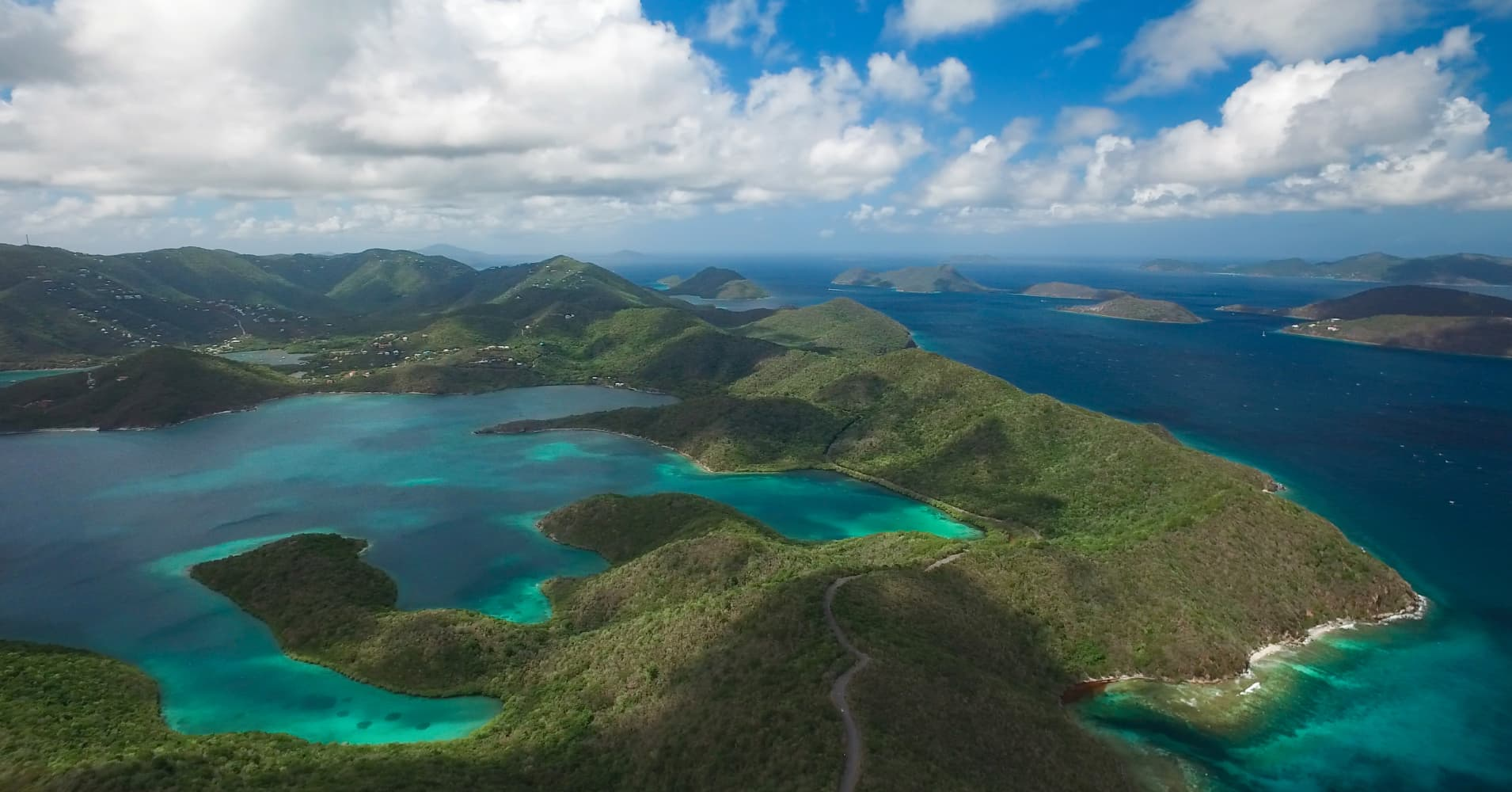 Aerial view of Hurricane Hole and Coral Bay, taken from East End of St. John, U.S. Virgin Islands