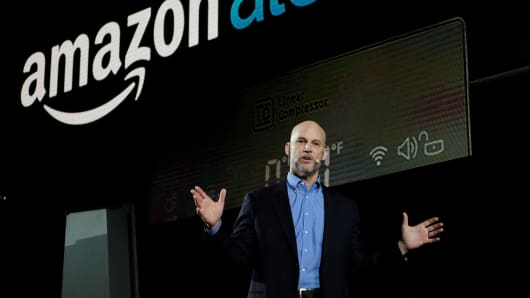 Mike George, VP Alexa, Echo and Appstore for Amazon, speaks during the LG press conference at CES in Las Vegas, January 4, 2017
