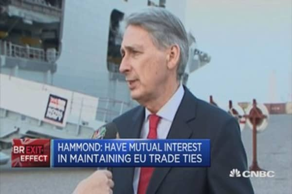 UK Fin Min: Have mutual interest in maintaining EU trade ties