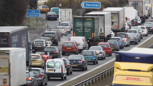 Traffic queues on the M8 motorway following its closure in Livingston, Scotland.