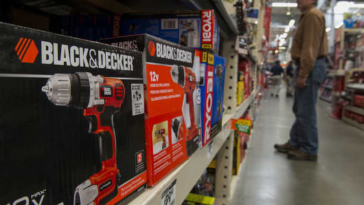 Stanley Black & Decker power drills are displayed for sale at a Home Depot store in Colma, California.