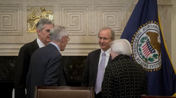Janet Yellen, chair of the U.S. Federal Reserve, from right. Scott Alvarez, general council with the U.S. Federal Reserve, Stanley Fisc