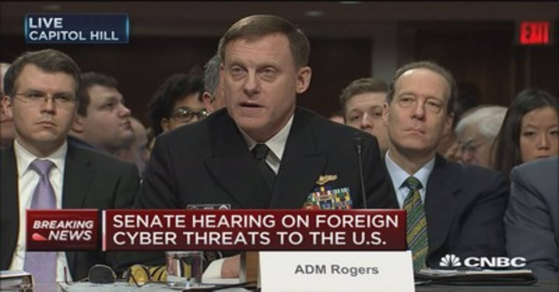 Image result for photos of admiral rogers at senate hearing