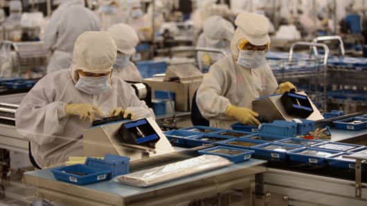 The hard drive assembly line at Western Digital.