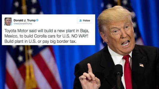 Donald Trump, Tweeter-in-Chief, blasts Toyota via Twitter.