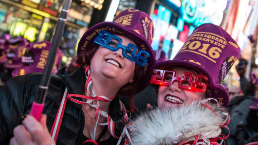 Women take a selfie to celebrate ringing in the new year in Times Square on January 1, 2016 in New York City.