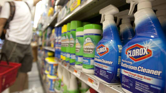 Clorox products are displayed for sale in a supermarket in New York.