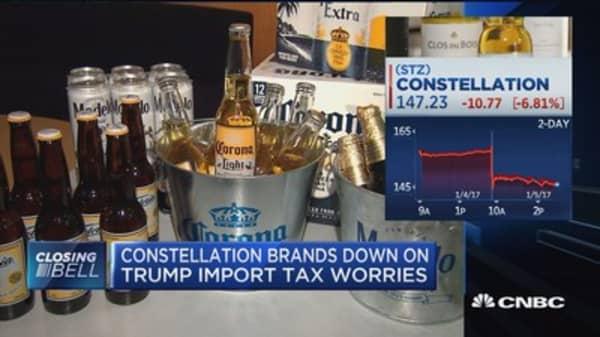 Constellation Brands down on Trump import tax worries