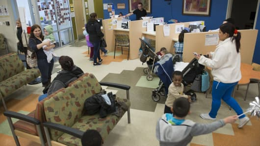The waiting room at Mary's Center in Washington, DC on February 24, 2014. Mary's Center is a non-profit health center for the underserved, uninsured or underinsured.