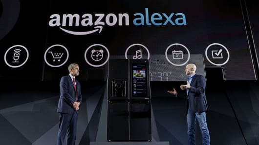 David VanderWaal, vice president of marketing for LG Electronics USA, left, and Michael George, vice president of Alexa, Echo, and Appstore at Amazon.com Inc., speak about the Amazon Alexa partnership with the LG InstaView Door-In-Door smart refrigerator