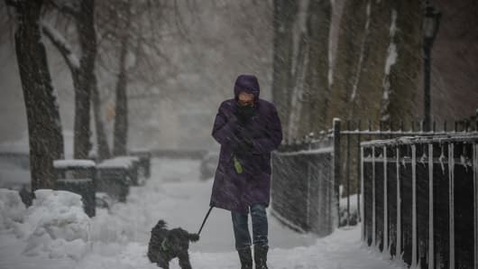 Woman walking during a snow storm in Manhattan, New York City on February 02, 2014.