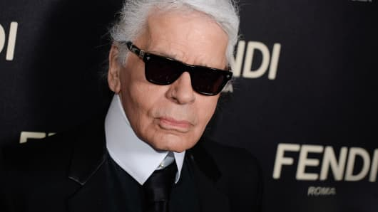 Karl Lagerfeld arrives at the Fendi New York Flagship Boutique Inauguration Party