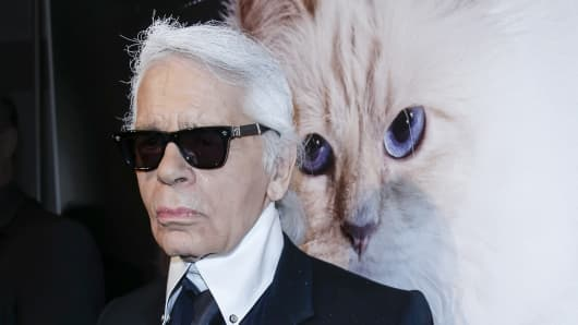 Karl Lagerfeld attends the 'Corsa Karl Und Choupette' Vernissage on February 03, 2015