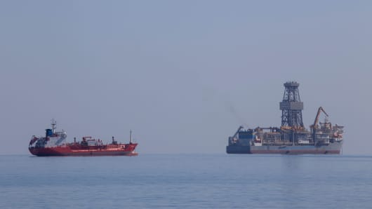 The drillship Pacific Khamsin in Limassol, Cyprus. Total explored for gas in their offshore Block 11 concession in early 2017.