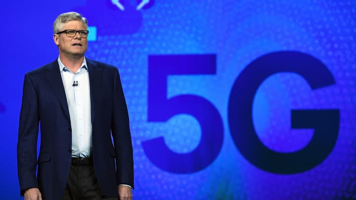 Qualcomm CEO Steve Mollenkopf speaks during a keynote address at CES 2017 on January 6, 2017 in Las Vegas.