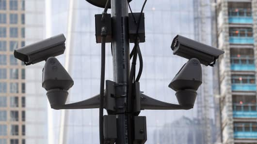 Surveillance cameras in New York City.