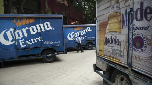 Trucks with Constellation Brands Inc. Corona and Modelo beer sit during a delivery in the Zona Rosa neighborhood in Mexico City, Mexico.