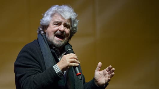 Beppe Grillo, founder of the Movimento 5 Stelle (Five Star Movement), speaks during a demonstration on December 2, 2016.