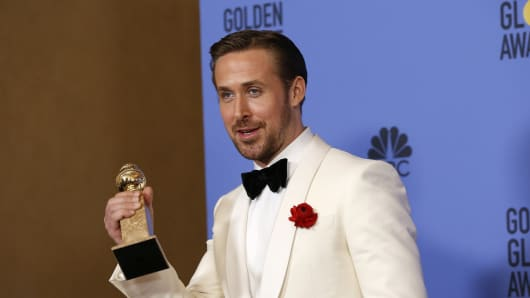 "Ryan Gosling holds the award for Best Performance by an Actor in a Motion Picture - Musical or Comedy for his role in ""La La Land"" during the 74th Annual Golden Globe Awards in Beverly Hills, California, U.S., January 8, 2017."