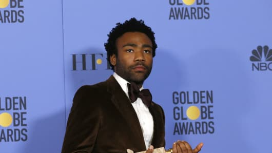 "Donald Glover holds the award for Best Performance by an Actor in a Television Series - Musical or Comedy for his role in ""Atlanta"" during the 74th Annual Golden Globe Awards in Beverly Hills, California, U.S., January 8, 2017."