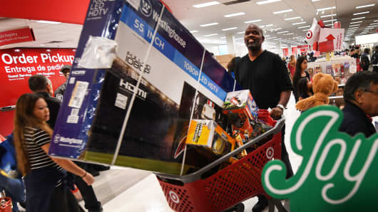 Holiday shoppers at a Target store in Culver City, California.
