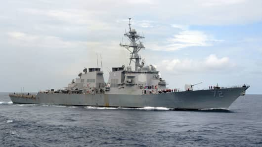 A file photo of the USS Mahan.