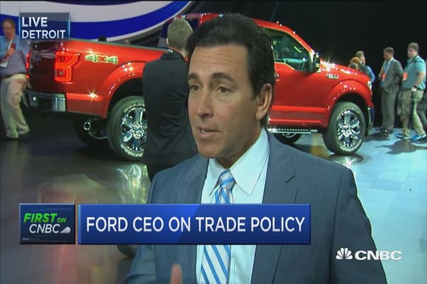 Ford CEO: We look at tax, trade factors in our business