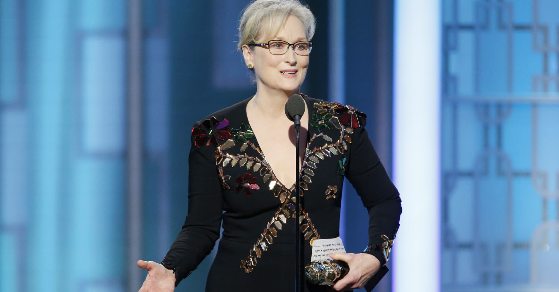 In this handout photo provided by NBCUniversal, Meryl Streep accepts Cecil B. DeMille Award during the 74th Annual Golden Globe Awards at The Beverly Hilton Hotel on January 8, 2017 in Beverly Hills, California.
