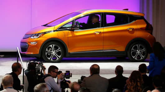 The Chevrolet Bolt EV is introduced as the Car of the Year during the North American International Auto Show in Detroit, January 9, 2017.