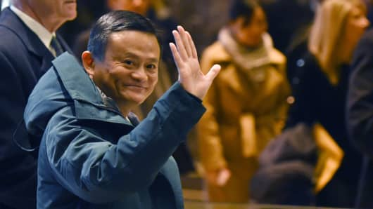 Jack Ma, founder and executive chairman of Alibaba Group, arrives at Trump Tower for meetings with President-elect Donald Trump on January 9, 2017 in New York.