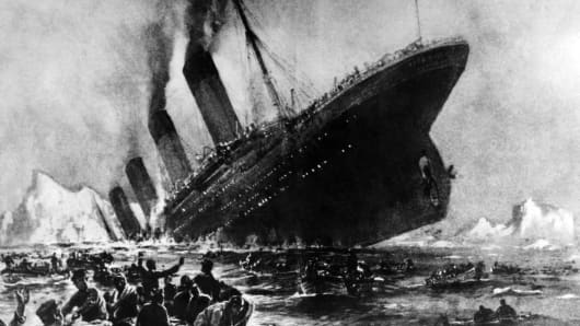 Undated artist impression showing the 14 April 1912 shipwreck of the British luxury passenger liner Titanic off the Nova-Scotia coasts, during its maiden voyage.