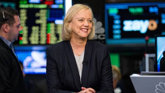Meg Whitman, CEO of Hewlett Packard, on the floor of the New York Stock Exchange