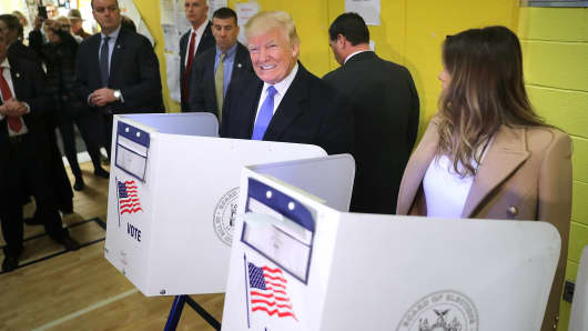 Republican presidential nominee Donald Trump and his wife Melania Trump cast their votes on Election Day at PS 59 November 8, 2016 in New York City.