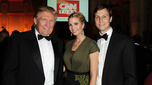 Donald Trump, Ivanka Trump and Jared Kushner attend a dinner gala in 2012