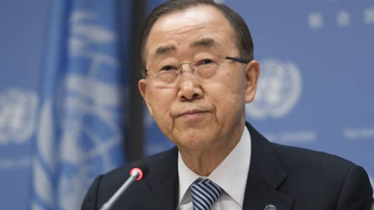United Nations Secretary-General Ban Ki-moon holds an 'end-of-term' press briefing at UN Headquarters.