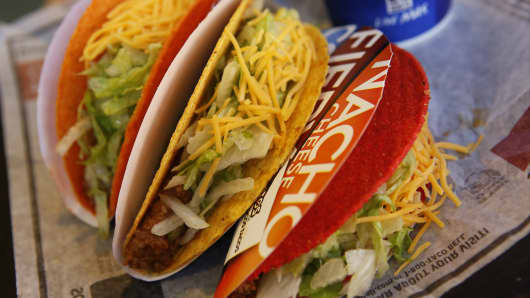 Doritos Locos tacos are arranged for a photograph at a Taco Bell restaurant, a unit of Yum! Brands Inc.
