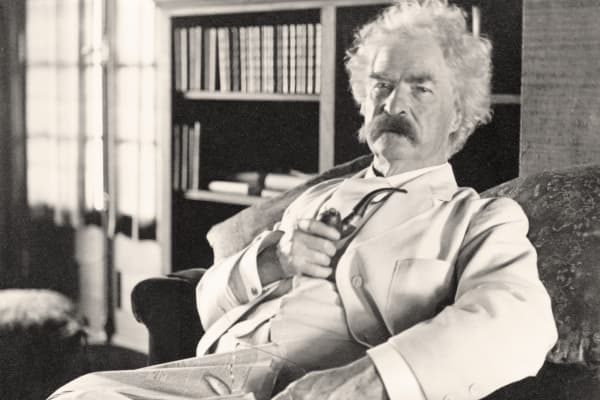 Writer Mark Twain photographed in his old age