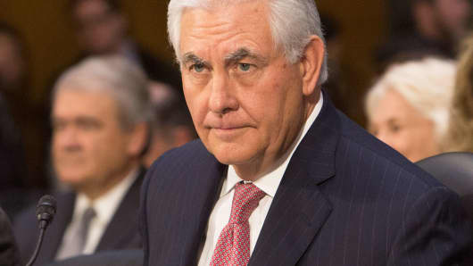 Former ExxonMobil CEO Rex Tillerson appears before the Senate Foreign Relations Committee for his confirmation hearing as secretary of State, January 11, 2017.