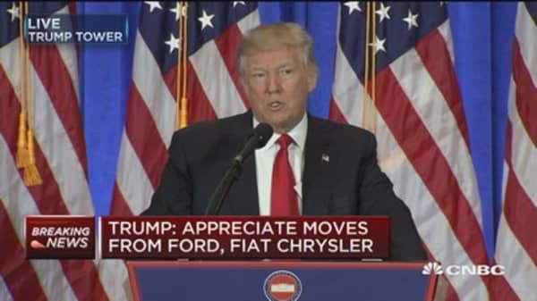 Trump: Appreciate moves from Ford, Fiat Chrysler