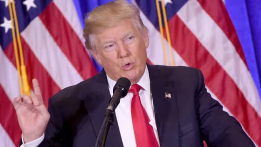 President-elect Donald Trump gives a press conference January 11, 2017 in New York. Donald Trump is holding his first news conference in nearly six months Wednesday, amid explosive allegations over his ties to Russia, a little more than a week before his inauguration.